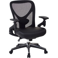 Pro-Line II ProGrid Mesh Back Managers Chair with Leather Seat and Pivoting Arms
