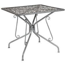 "Agostina Series 31.5"" Square Antique Silver Indoor-Outdoor Steel Patio Table"