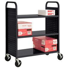 39'' W x 19'' D x 46'' H Flat Three Shelf Booktruck - Black