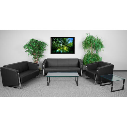 """Our HERCULES Gallant Series Reception Set in Black LeatherSoft with <span style=""""color:#0000CD;"""">Free </span> Tables is on sale now."""