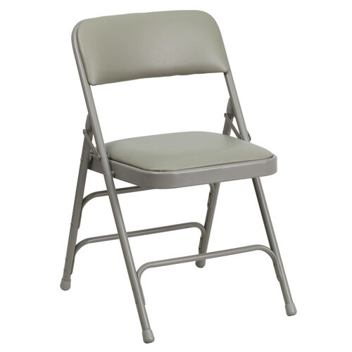 Our HERCULES Series Curved Triple Braced & Double Hinged Gray Vinyl Metal Folding Chair is on sale now.