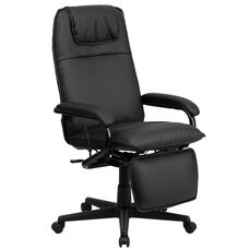 High Back Black Leather Executive Reclining Ergonomic Swivel Office Chair with Arms