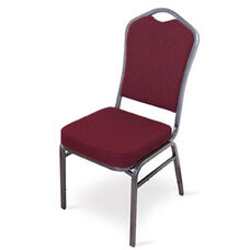 Superb Seating Heavy-Duty Steel Frame Fabric Upholstered Stacking Chair - Burgundy