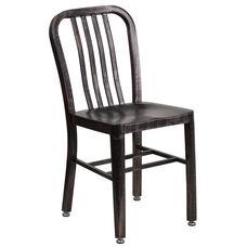 Commercial Grade Black-Antique Gold Metal Indoor-Outdoor Chair