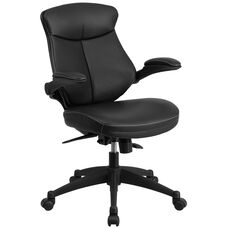 Mid-Back Black Leather Executive Swivel Ergonomic Office Chair with Back Angle Adjustment and Flip-Up Arms