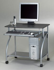 Argo Mobile PC Workstation with Slide Out Keyboard Tray and CPU Shelf - Anthracite