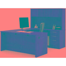 Embassy U-Shaped Assembly with Hutch and Executive Desk - Tuscany Brown