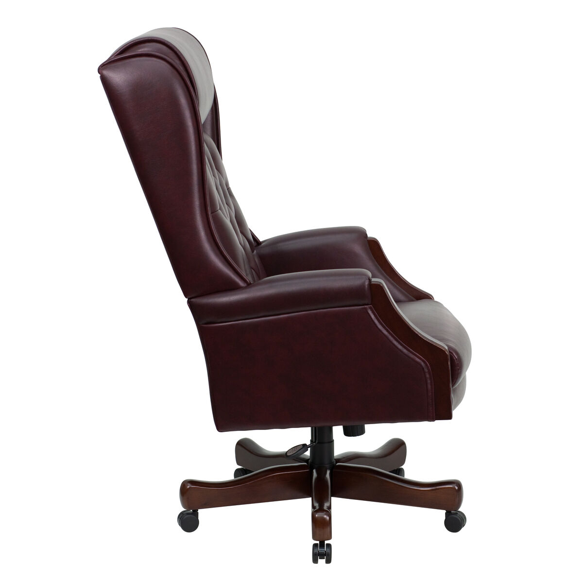 Our High Back Traditional Tufted Burdy Leather Executive Swivel Chair With Headrest And Arms Is On