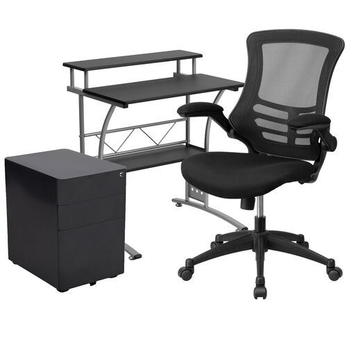 Our Work From Home Kit - Black Computer Desk, Ergonomic Mesh Office Chair and Locking Mobile Filing Cabinet with Side Handles is on sale now.