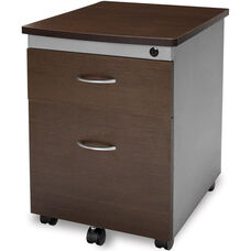 Mobile File Pedestal - Walnut Finish