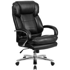 Big & Tall Office Chair | Black Leather Swivel Executive Desk Chair with Wheels