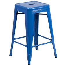 "Commercial Grade 24"" High Backless Blue Metal Indoor-Outdoor Counter Height Stool with Square Seat"