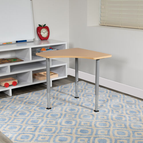 """Our Triangular Natural Collaborative Student Desk (Adjustable from 22.3"""" to 34"""") - Home and Classroom is on sale now."""