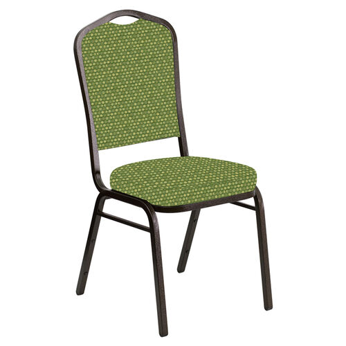 Crown Back Banquet Chair in Optik Olive Fabric - Gold Vein Frame