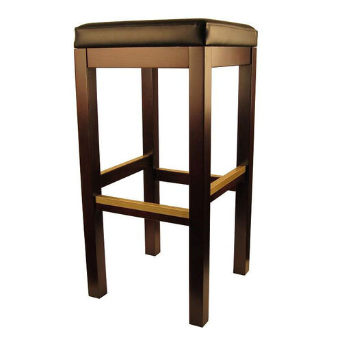 Backless Dark Walnut Finish Wood Barstool with Black Vinyl Seat