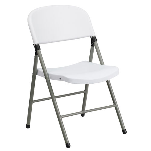 Our HERCULES Series 330 lb. Capacity White Plastic Folding Chair with Gray Frame is on sale now.