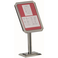 Single Pedestal-Ornamental Sign and Poster Stand with Chrome Base and Frame