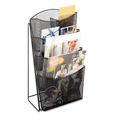 Safco® Onyx Mesh Counter Display - Four Compartments - 9-3/4w x 6-1/2d x 18h - Black