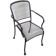Outdoor Wrought Iron Stackable Arm Chair