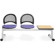 Moon 3-Beam Seating with 2 Lavender Fabric Seats and 1 Table - Oak Finish