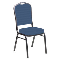 Embroidered Crown Back Banquet Chair in Harmony Aster Fabric - Silver Vein Frame