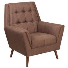 HERCULES Kensington Series Contemporary Brown Fabric Tufted Arm Chair