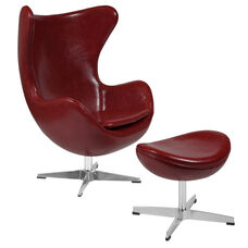 Cordovan Leather Egg Chair with Tilt-Lock Mechanism and Ottoman