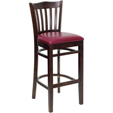 Walnut Finished Vertical Slat Back Wooden Restaurant Barstool with Burgundy Vinyl Seat