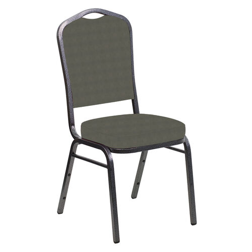 Our Embroidered Crown Back Banquet Chair in Harmony Gray Fabric - Silver Vein Frame is on sale now.