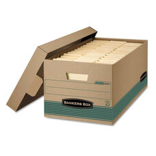Bankers Box® STOR/FILE Extra Strength Storage Box - Letter - Lift-Off Lid - Kft/Green - 12/Carton