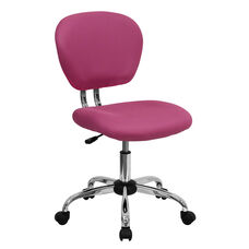 Mid-Back Pink Mesh Swivel Task Chair with Chrome Base