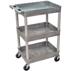 Heavy Duty Multi-Purpose Mobile Tub Utility Cart with 3 Tub Shelves - Gray - 24''W x 18''D x 36.5''H