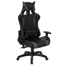 Cumberland Comfort Series High Back Black and Gray Reclining Racing/Gaming Office Chair with Adjustable Lumbar Support