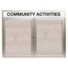 2 Door Outdoor Illuminated Enclosed Bulletin Board with Header and Aluminum Frame - 48