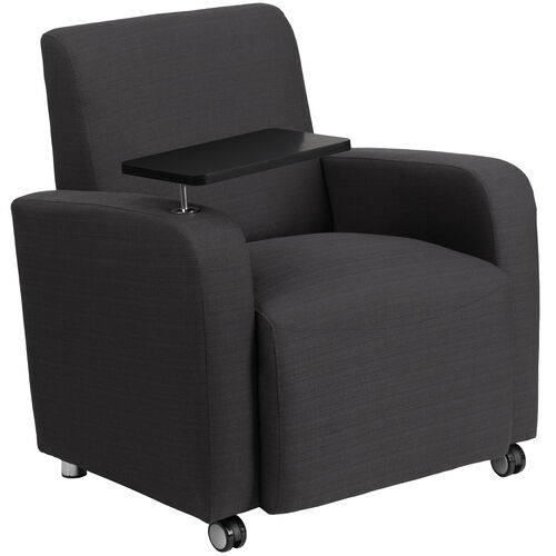 Our Gray Fabric Guest Chair with Tablet Arm and Front Wheel Casters is on sale now.