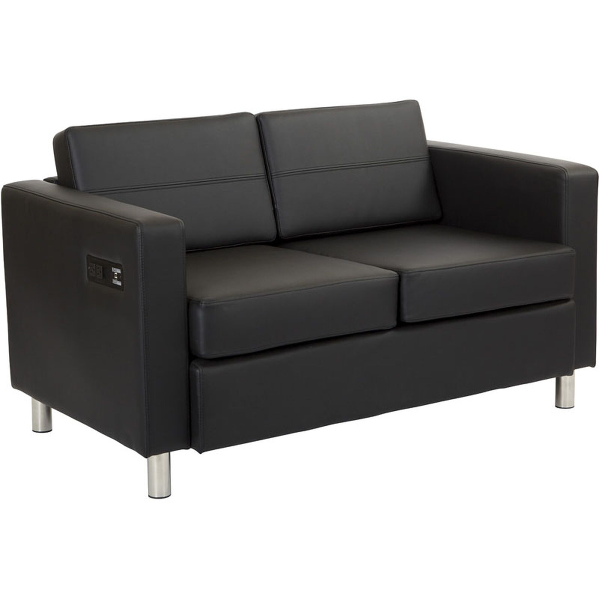 Work Smart Atlantic Loveseat with Dual Charging Station - Dillon Black