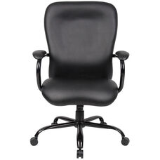 Heavy Duty 350 lb Capacity CaressoftPlus™ Chair with Padded Arms - Black