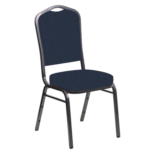 Our Embroidered Crown Back Banquet Chair in Bonaire Navy Fabric - Silver Vein Frame is on sale now.