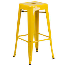 "Commercial Grade 30"" High Backless Yellow Metal Indoor-Outdoor Barstool with Square Seat"