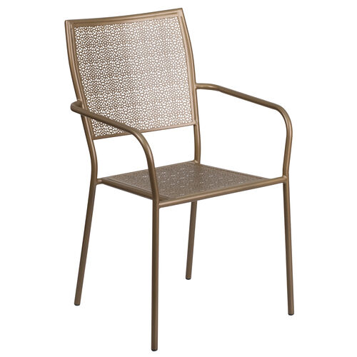 Our Commercial Grade Gold Indoor-Outdoor Steel Patio Arm Chair with Square Back is on sale now.