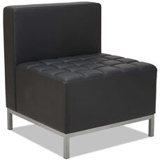 Alera® QUB Series Armless L Sectional with Tufted Seat and Silver Steel Legs - Black