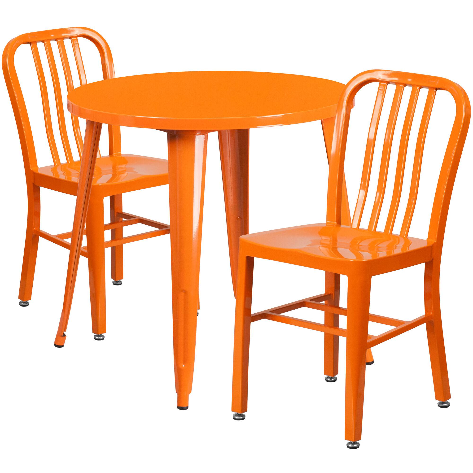 Flash furniture 30 39 39 round orange metal indoor outdoor for Html vertical table