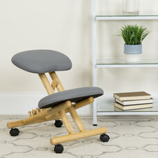 Mobile Wooden Ergonomic Kneeling Office Chair in Gray Fabric