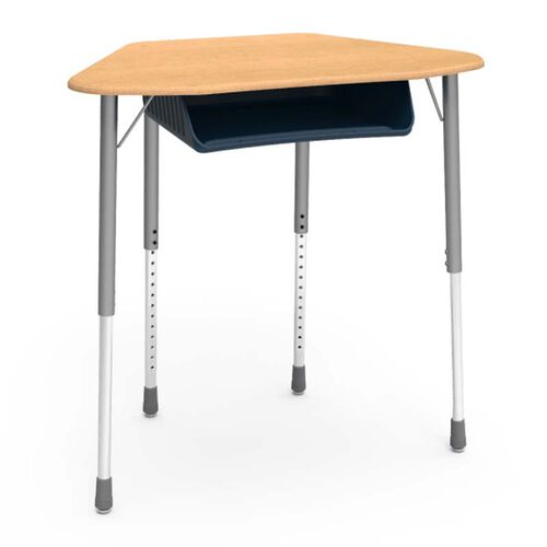 Quick Ship ZUMA Adjustable Height Trapezoid Student Desk With Fusion Maple Top, Silver Mist Legs, and Navy Bookbox - 21.13