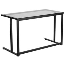 Glass Desk with Black Pedestal Frame