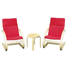 Birch Bentwood Ergonomically Shaped Comfort Chairs with Removable Cushions and Table Set