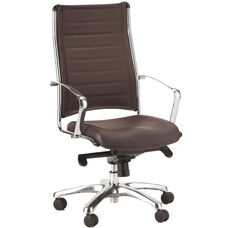 Europa High Back 22'' W x 25.5'' D x 41.5'' H Adjustable Height Leather Office Chair - Brown