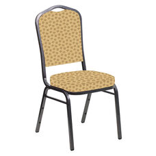 Embroidered Crown Back Banquet Chair in Scatter Barley Fabric - Silver Vein Frame