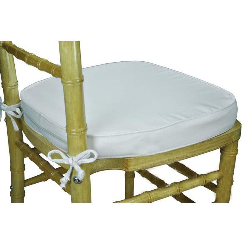 Midas Event Supply Legacy Series 2u0027u0027H Foam Chiavari Chair Cushion With 12u0027u0027  Ties   White 121401 | ChurchChairs4Less.com