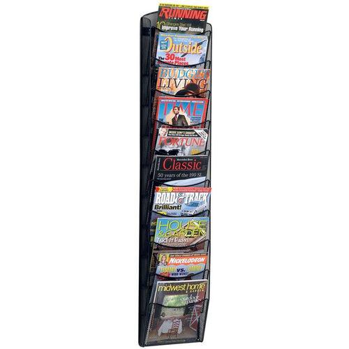 Onyx™ Ten Pocket Mesh Wall Mount Magazine Rack - Black